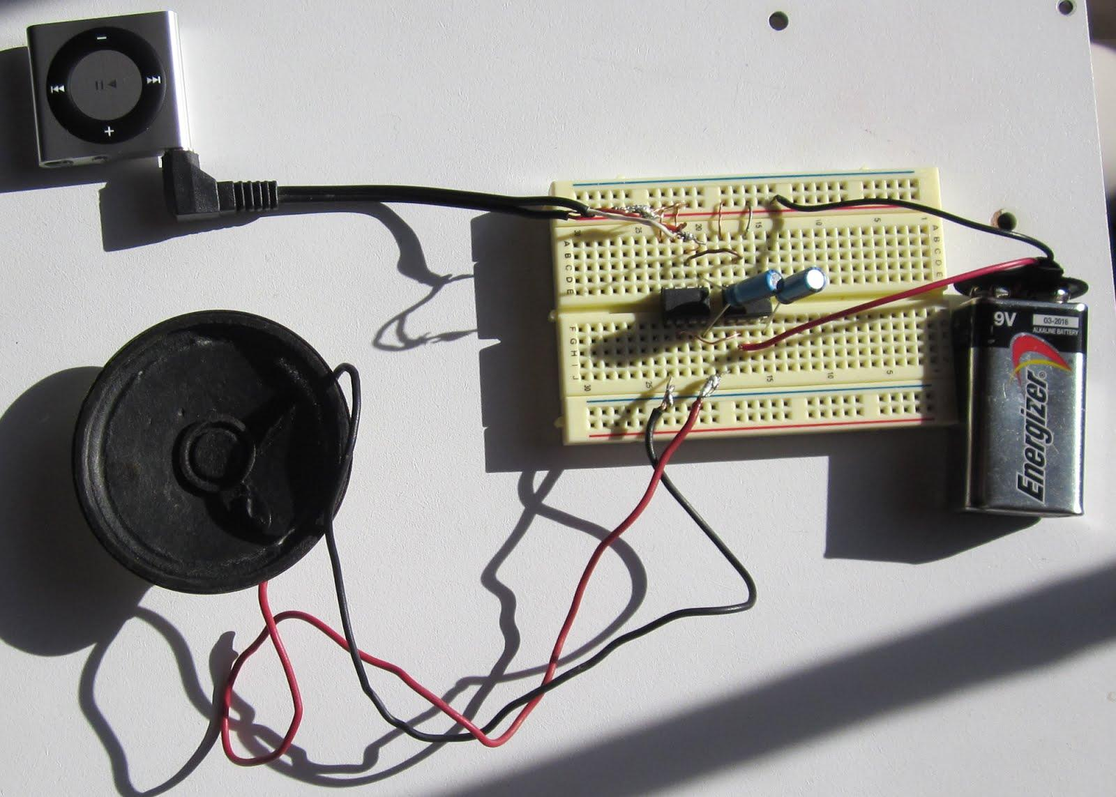 Audio amp completed breadboard